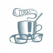 Business lunch logo. Cup of tea with glasses and idea speech balloon.