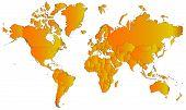 World map with orange gradient
