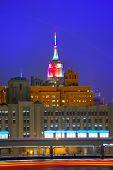 Manhattan sunset skyline New York Empire State building USA