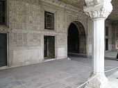foto of khas  - Inlaid marble columns and arches Hall of Private Audience or Diwan I Khas at the Lal Qila or Red Fort in Delhi India - JPG