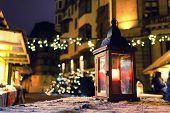 Lantern With A Candle On A Christmas Fair