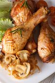 Chicken Drumsticks With Mushrooms And Rosemary Vertical Top View