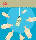 picture of money  - first among competitors. Money on a hook. Fish and