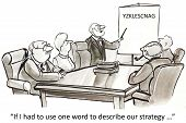 stock photo of leader  - Cartoon of business leader saying - JPG