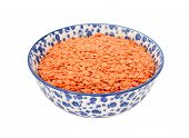 Red Lentils In A Blue And White China Bowl