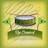 picture of brazilian carnival  - an isolated drum a pair of brazilian flags and a ribbon with text for carnival - JPG