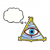 cartoon mystic eye symbol with thought bubble