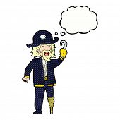 picture of peg-leg  - cartoon pirate captain with thought bubble - JPG