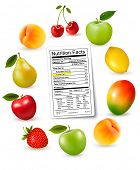 image of fruit-juice  - Fresh fruit with a nutrition facts label - JPG