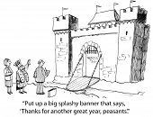picture of greedy  - Cartoon of king saying to businessman - JPG
