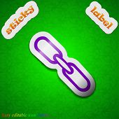 Link Icon Sign. Symbol Chic Colored Sticky Label On Green Background. Vector
