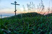 cross and grass