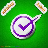 Check Mark Icon Sign. Symbol Chic Colored Sticky Label On Green Background. Vector