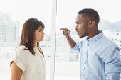 picture of argument  - Casual business colleagues having an argument in the office - JPG