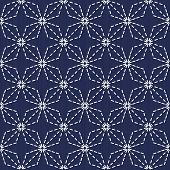 Traditional Japanese Embroidery Ornament. Romby Sashiko. Vector seamless pattern.