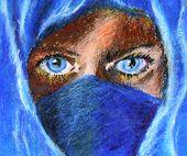 blue eyes in burqua CU2