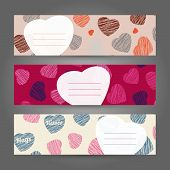 Set of Romantic horizontal banners. Hearts ornament. Vector Illustration. Valentine's Day series.