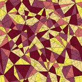 Abstract mosaic pattern with triangles. Seamless vector. Yelow red colors.