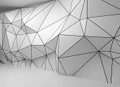 Abstract White 3D Interior, Polygonal Wire-frame Wall