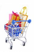 shopping trolley with presents gifts