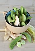 stock photo of bean-pod  - Lima bean pods fresh crunchy green tasty ripe - JPG