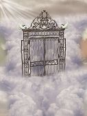 image of gates heaven  - Fantasy landscape in the sky with gate and doves - JPG