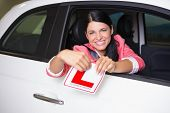 image of cheer-up  - Cheerful female driver tearing up her L sign at new car showroom - JPG