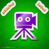 Video Camera Icon Sign. Symbol Chic Colored Sticky Label On Green Background. Vector