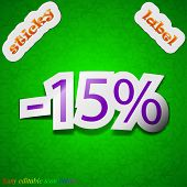 15 Percent Discount Icon Sign. Symbol Chic Colored Sticky Label On Green Background. Vector