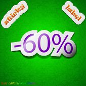 60 Percent Discount Icon Sign. Symbol Chic Colored Sticky Label On Green Background. Vector