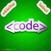 Code Icon Sign. Symbol Chic Colored Sticky Label On Green Background. Vector