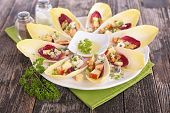 stock photo of chicory  - chicory salad and sauce - JPG