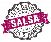 Salsa Dance Grunge Violet Seal Isolated On White