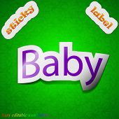 Baby On Board Icon Sign. Symbol Chic Colored Sticky Label On Green Background. Vector