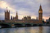 Big Ben and houses of Parliament. Thames embankment