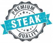 Steak Vintage Turquoise Seal Isolated On White