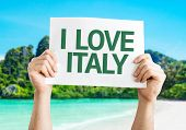 I Love Italy card with beach background