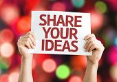 Share Your Ideas card with colorful background with defocused lights