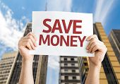 Save Money card with urban background