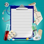 Medical template with medicine equipment and notes medical frame