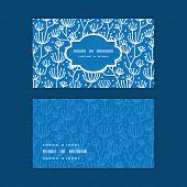 Vector blue white lineart plants horizontal frame pattern business cards set