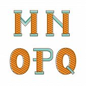 Colorful alphabet letters m,n,o, p,q