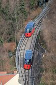 GRAZ, AUSTRIA - JANUARY 10, 2015: Modern funicular climbing to Schlossberg and Graz city panoramic view, Austria on January 10, 2015.