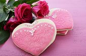 International Womens Day, March 8, Heart Shape Cookies Decorated As Pink Ladies Dresses With Bouquet