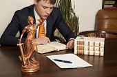 stock photo of lawyer  - Lawyer reading a book in the office - JPG