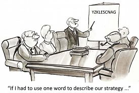 picture of confusing  - Cartoon of business leader saying - JPG