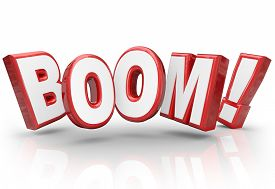 picture of economy  - Boom word in 3d letters to illustrate explosive growth in sales - JPG