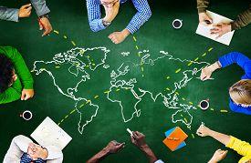 stock photo of globalization  - World Global Ecology International Meeting Unity Learning Concept - JPG