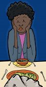 stock photo of sulky  - Illustration of pouting female having dinner with a rock - JPG