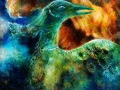 pic of emerald  - abstract background collage with emerald green phoenix bird - JPG